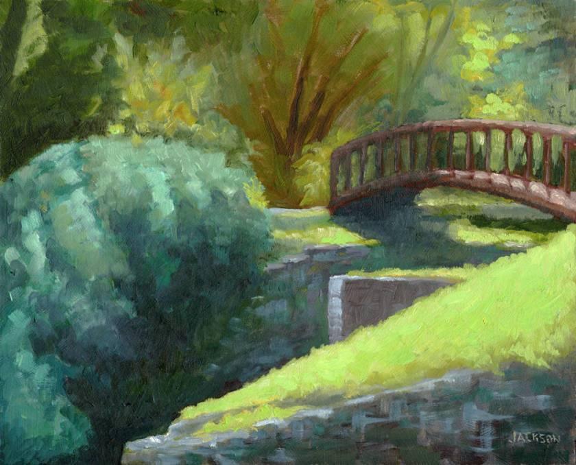 Lambertville Canal, Tom Jackson, oil on panel