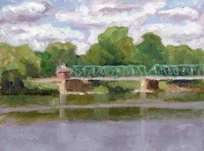 Red Bridge and House Lambertville, New Hope; Tom Jackson, oil on panel