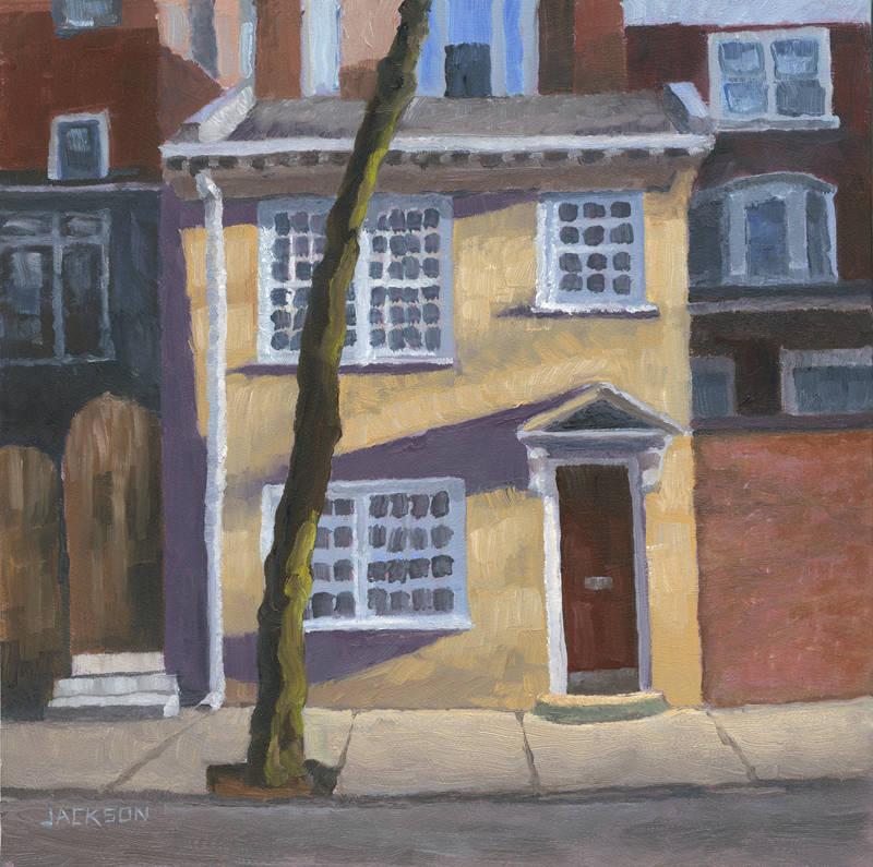 Yellow Two story on Pine Street, Tom Jackson, oil on panel