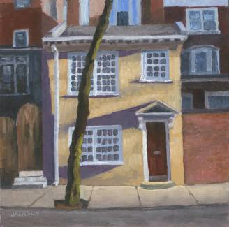 Yellow Two story on Pine Street, Tom Jackson, oil on panel