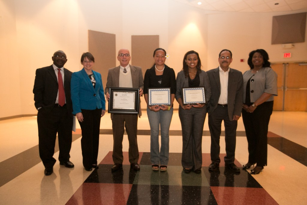 David Ngong, April Kendrick, Donald Staffo, Litia Godinet, Elizabeth Caver, Anathbandhu Chaudhuri, and Marcia Millet are pictured at the Stillman Research Symposium.