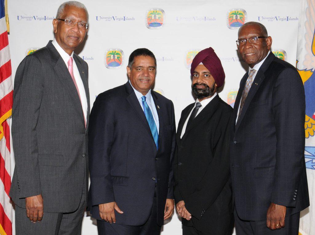 UVI Board of Trustees Chairman Alexander A. Moorhead, VI Governor John P. de Jongh, Jr., Dr. Chirinjeev Kathuria, and UVI President David Hall