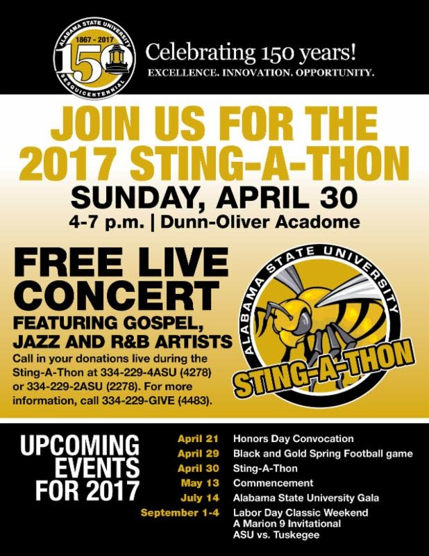 Alabama State University's Sting-A-Thon Set for April 30