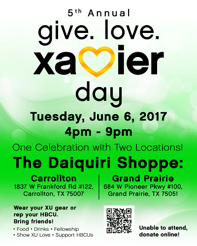 Attention DFW Xavier Alumni: Support Your School at The Daiquiri Shoppe on Give.Love. Xavier Day 2017