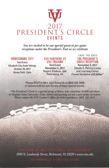 Virginia Union University's 2017 President's Circle Events
