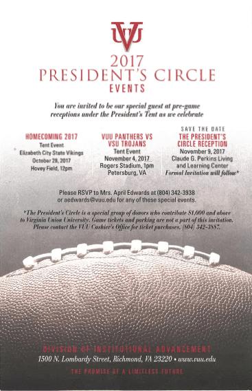 Virginia Union University's 2017 President's Circle Events