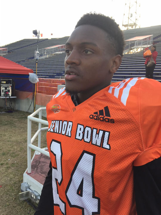 Danny Johnson, first Southern player at Senior Bowl in 23 years, showcasing skills against the big boys