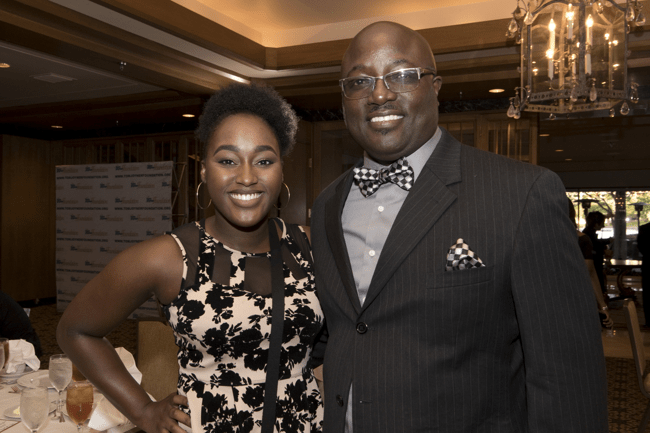 From left: Full Ride Scholarship finalist Aliyah Gardner and her father. (Photo: Jesse Hornbuckle)