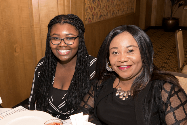 From left: Full Ride Scholarship finalist Shola Jimoh and her mother. (Photo: Jesse Hornbuckle)