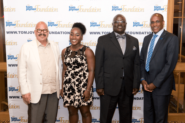 From left: Tom Joyner, Full Ride Scholarship Finalist Aliyah Gardner, her father and Dillard University President Dr. Walter Kimbrough. (Photo: Jesse Hornbuckle)