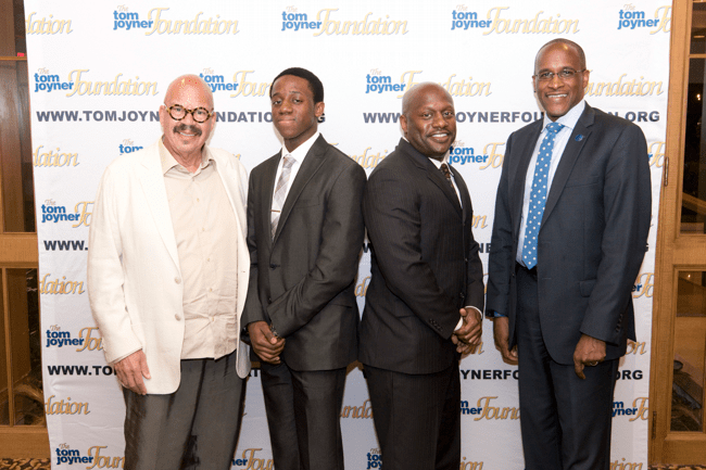 From left: Tom Joyner, Full Ride Scholarship Finalist Bomani Kopano, his father and Dillard University President Dr. Walter Kimbrough. (Photo: Jesse Hornbuckle)