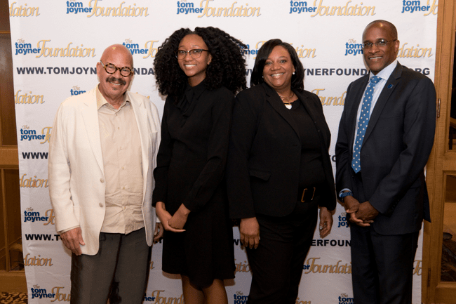 From left: Tom Joyner, Full Ride Scholarship Finalist Morgan Bacon, her mother and Dillard University President Dr. Walter Kimbrough. (Photo: Jesse Hornbuckle)