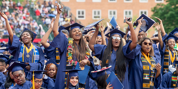 The graduates celebrate during Howard University's 150th Commencement Ceremony on Saturday, May 12, 2018 in Washington, D.C. (Photo: Courtesy of Howard University)
