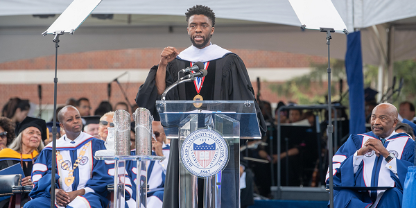 Alumnus Chadwick Boseman addresses the Class of 2018 during the Howard University 150th Commencement Ceremony on Saturday, May 12, 2018 in Washington, D.C. (Photo: Courtesy of Howard University)