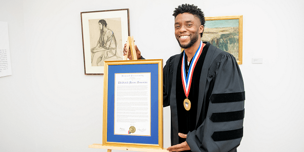 Dr. Chadwick Boseman receives an honorary Doctor of Humane Letters during the Howard University 150th Commencement Ceremony on Saturday, May 12, 2018 in Washington, D.C. (Photo: Courtesy of Howard University)