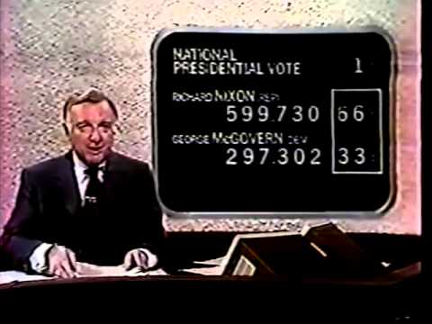 Walter Cronkite covering the 1972 U.S. election for CBS.