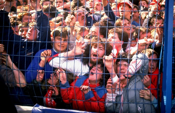 Liverpool fans crushed into the pen at Hillsborough