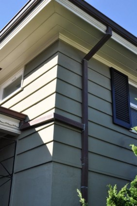 Copper Downspout and Gutter