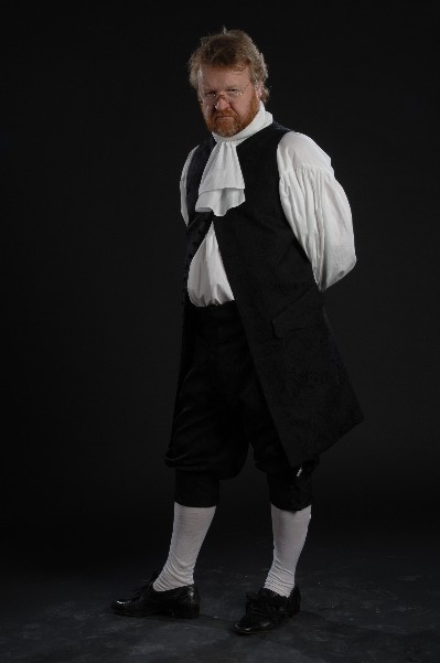 Tom as Mr Hardcastle from 'She Stoops to Conquer' in costume designed by London College of Fashion student Charlotte Brazier
