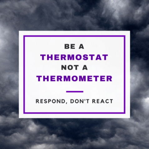Be a thermostat, not a thermometer. Respond, don't react.