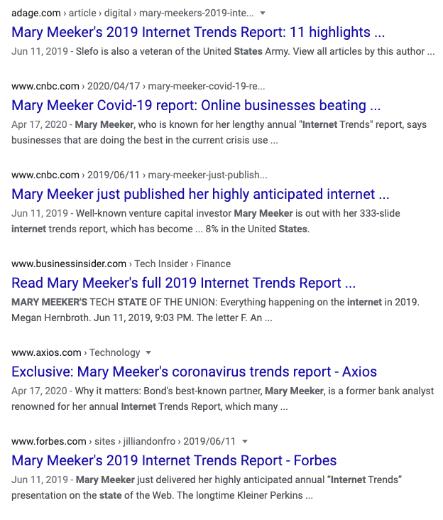 Mary Meeker Report Search Results
