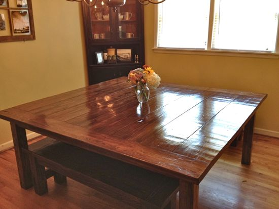 white wood kitchen table hood cleaning massive 6′x6′ farmhouse finished « tommy & ellie