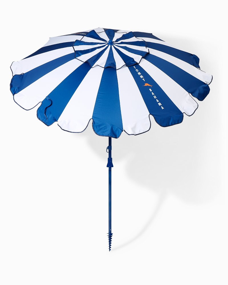 beach chairs with umbrellas kartell ghost chair knock off tommy bahama stripe 7 5 foot umbrella