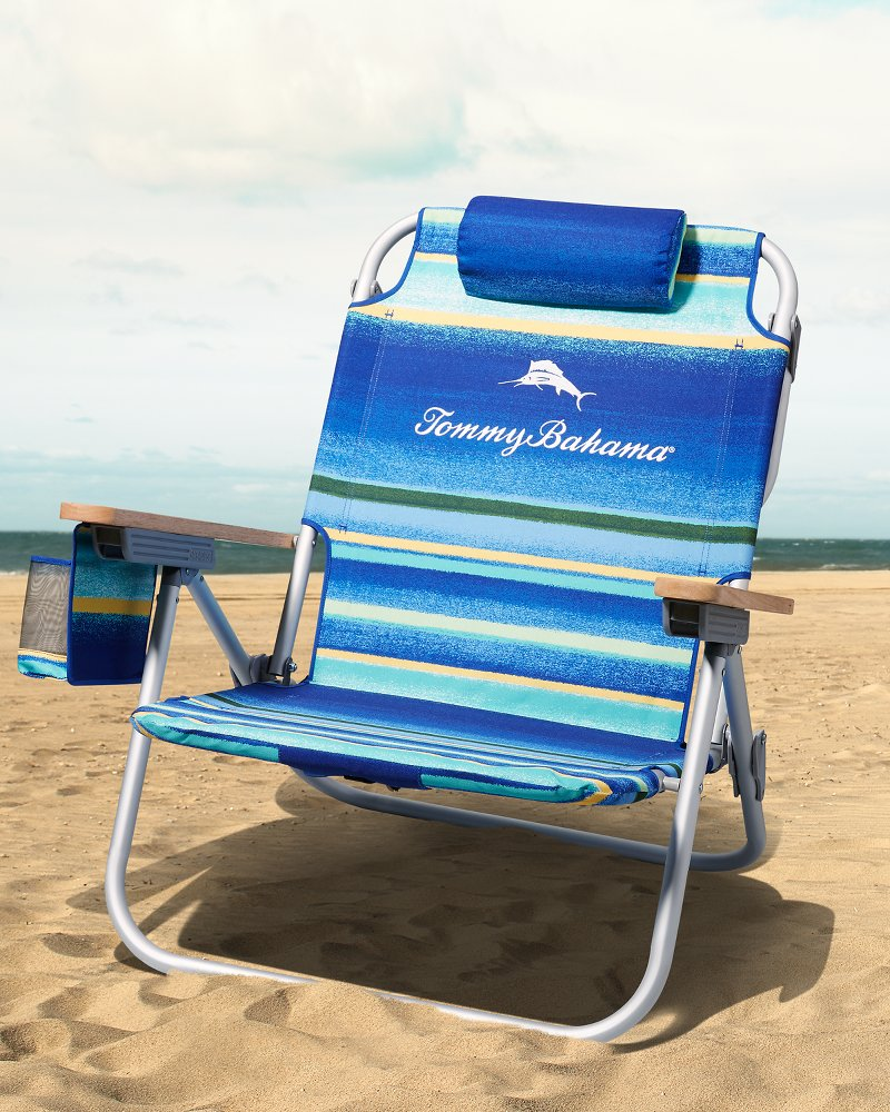 Blue Stripe Deluxe Backpack Beach Chair