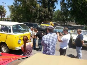 July 28, 2015 - Ben Churchill, Erik Stone, & Emily Aspland film Tommy Edison & Fireball Time at The Picture Car Warehouse in Northridge, CA