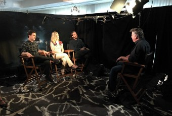 """Aug. 14, 2016 - Tommy Edison interviews actors Dylan Minnette, Jane Levy, and Daniel Zovatto at the """"Don't Breathe"""" press junket"""