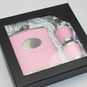 Stainless Steel 7oz Hip Flask - Pink Leather with Engraving Plate - 4 piece set