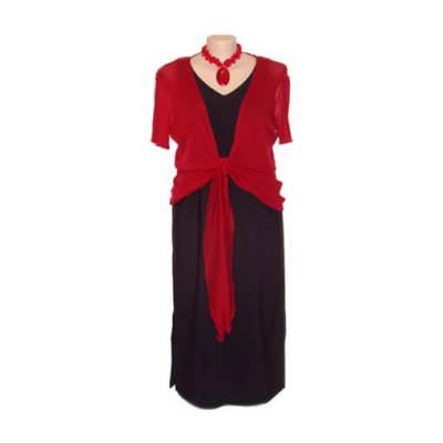 Plus Size Sleeveless V-Neck Structured Dress - Black
