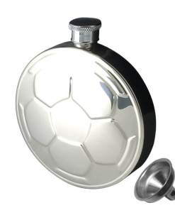 Soccer / Football 4.5 oz Stainless Steel Hip Flask with Funnel