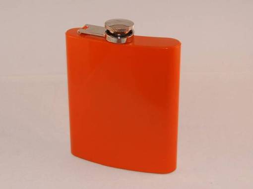 Coloured Stainless Steel 7oz Hip Flask - Orange