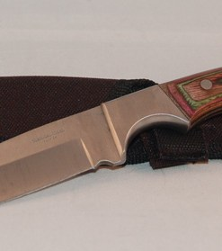 Straight Knife with Fixed Blade, Wooden Handle and Sheath