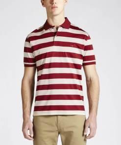 RM Williams 'Rod Stripe' Polo Shirt - Red / Bone
