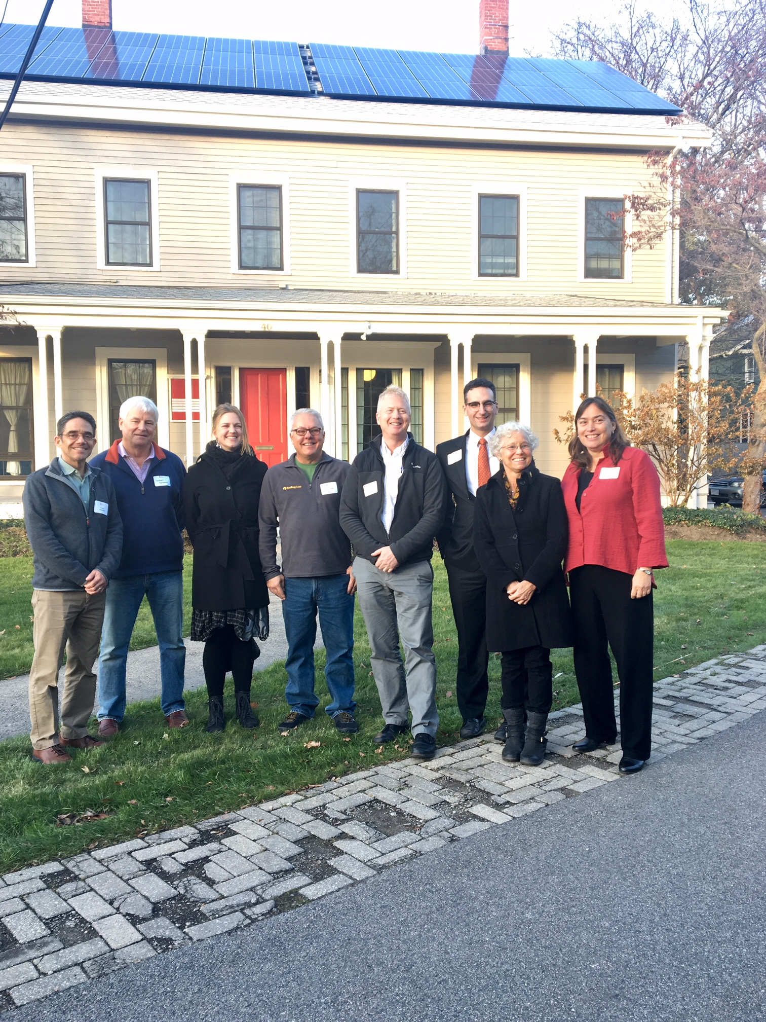 Tommy Vitolo with Brookline Community Foundation and solar panels