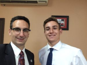 Tommy Vitolo meeting with a State House intern