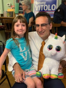 Tommy Vitolo, a girl, and a unicorn at birthday party at the Brookline Elk's Lodge