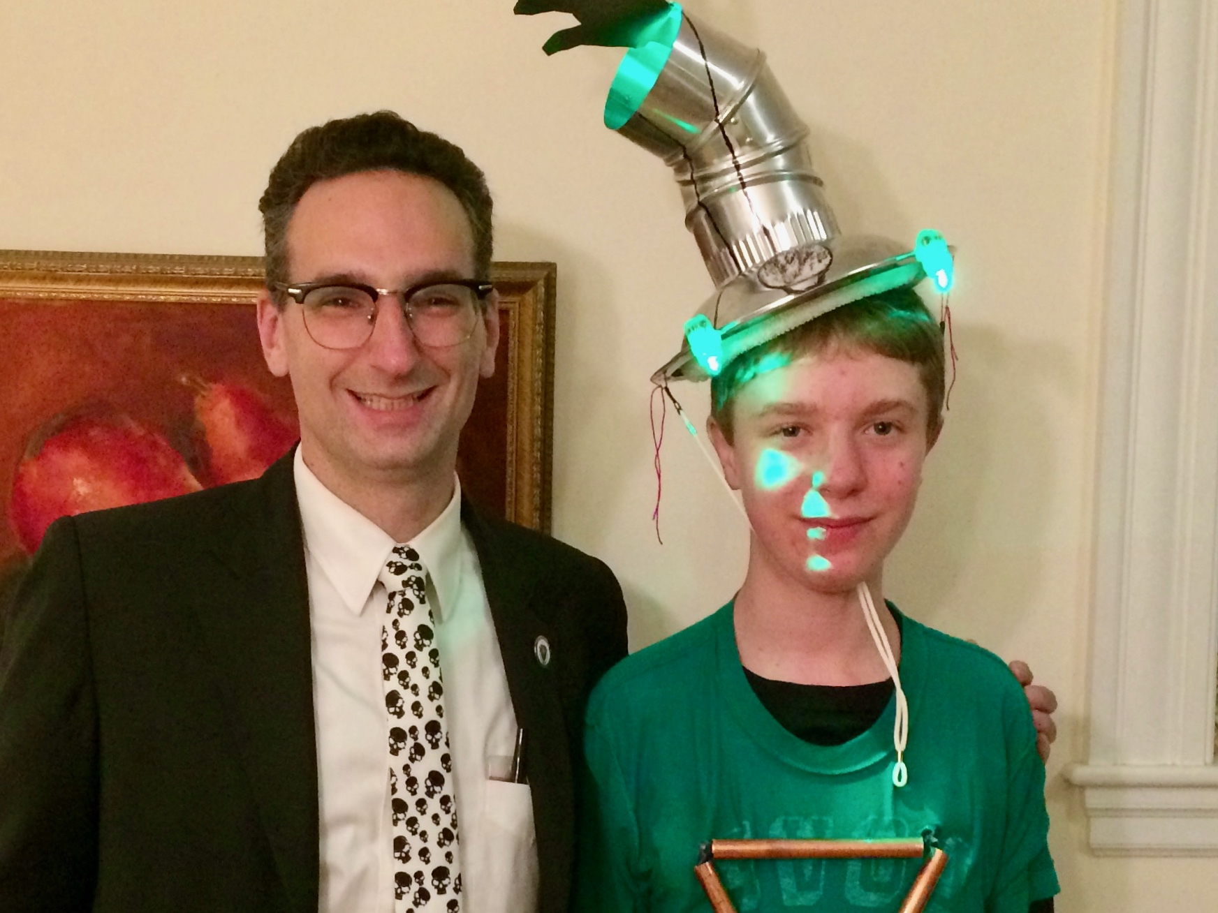 Tommy Vitolo with young man dressed as a gas leak for Halloween