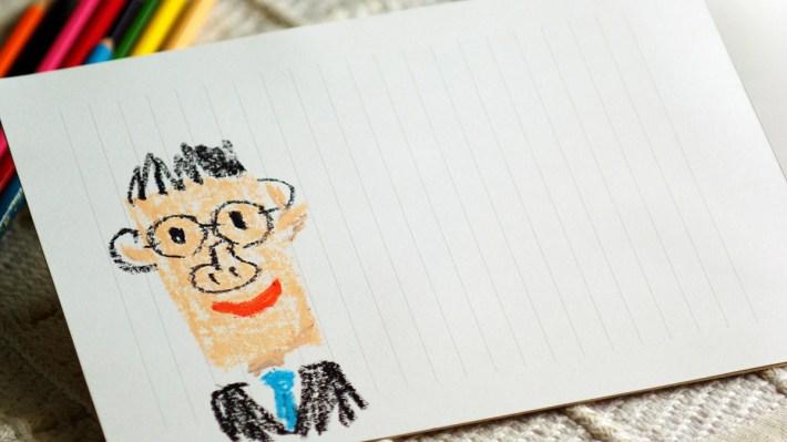 父の日のグリーティングカード(パパの似顔絵)
