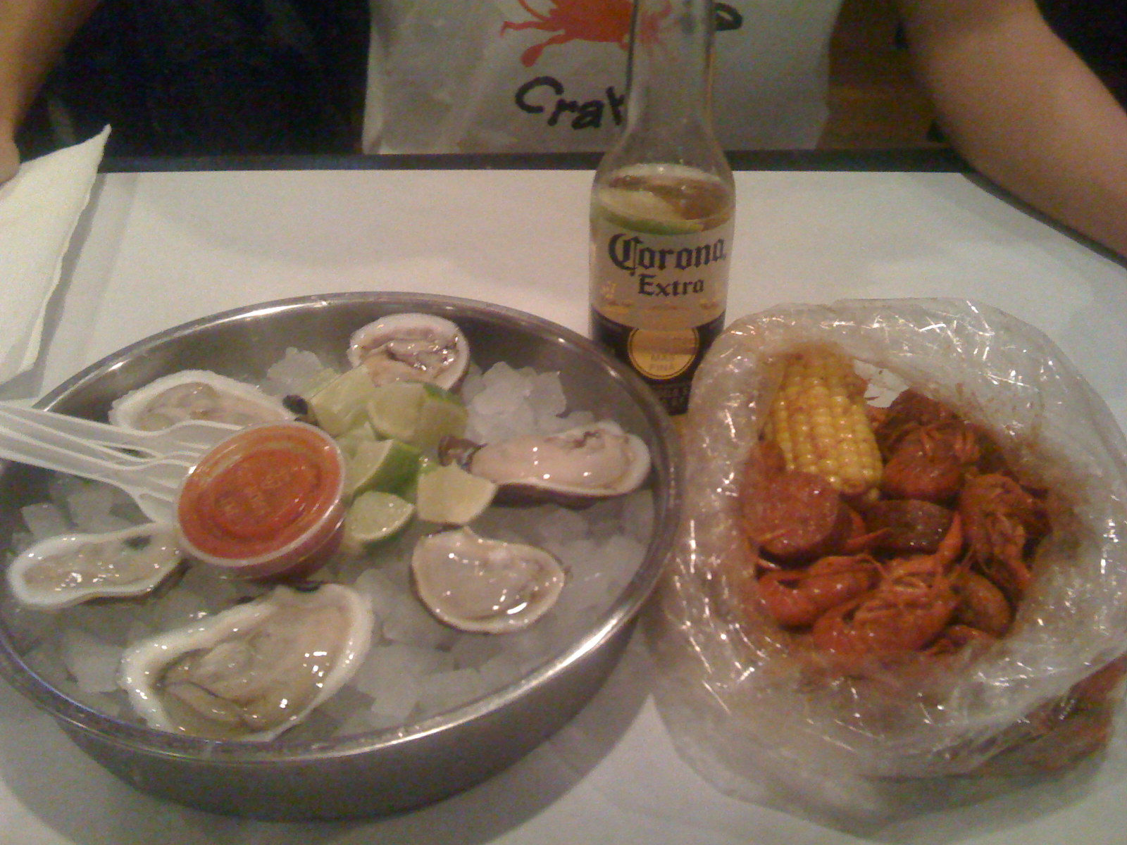 Oysters and crawfish with Corona