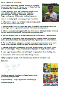 Top ten tips letter for rugby families to encourage reading