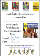 twickenham trials certificate