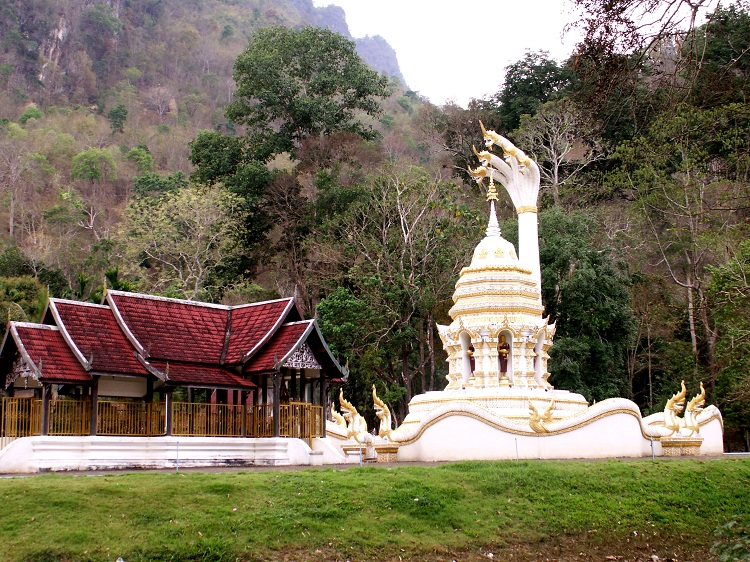 Buddhist Style Set Against a Mountain in Thailand