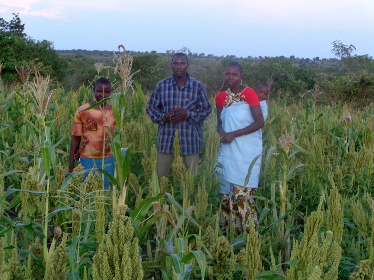 Wilson & Family Members in Amaranth & Corn Field in Tanzania