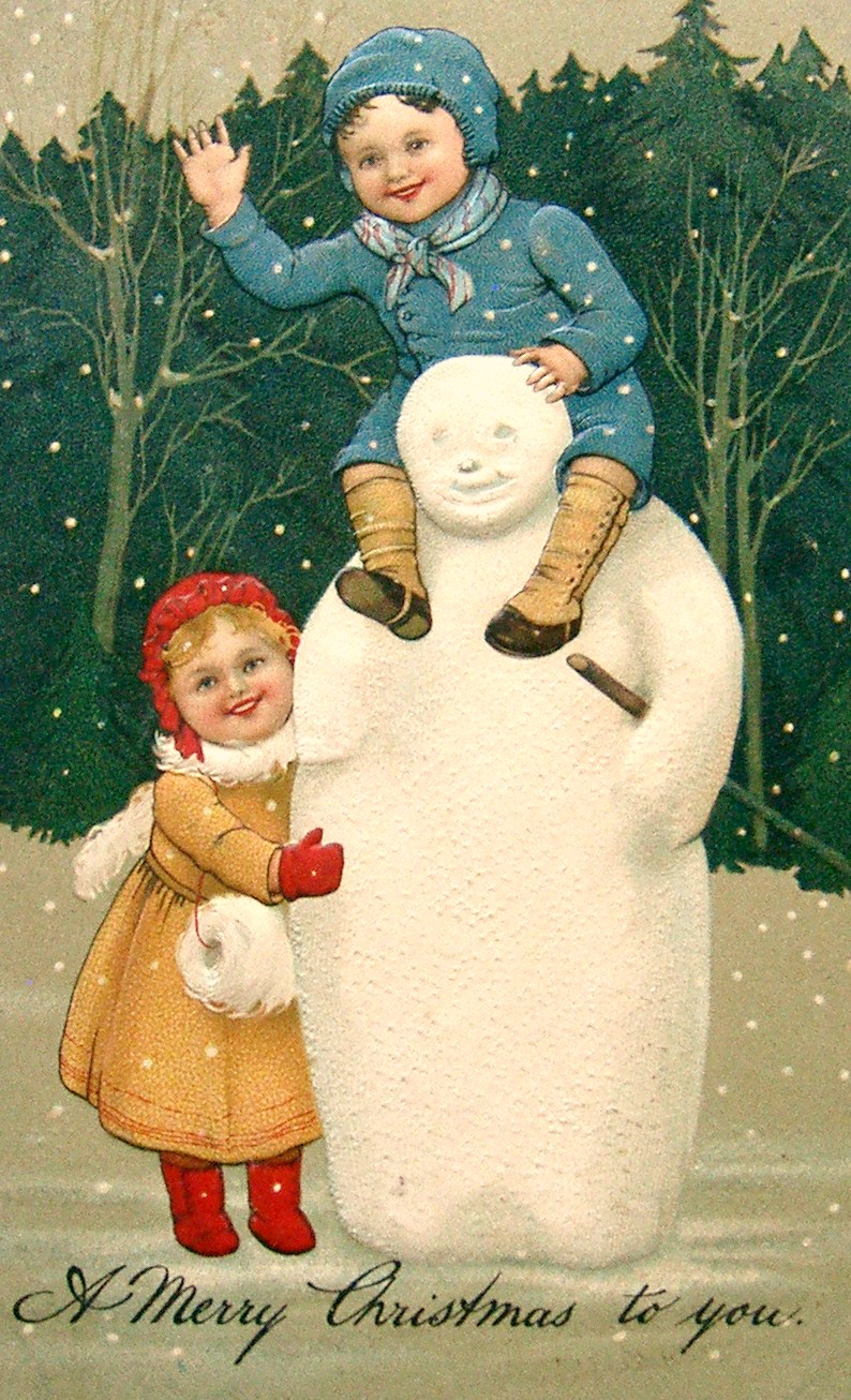 VINTAGE SNOWMEN From My Old Postcard Collection Toms