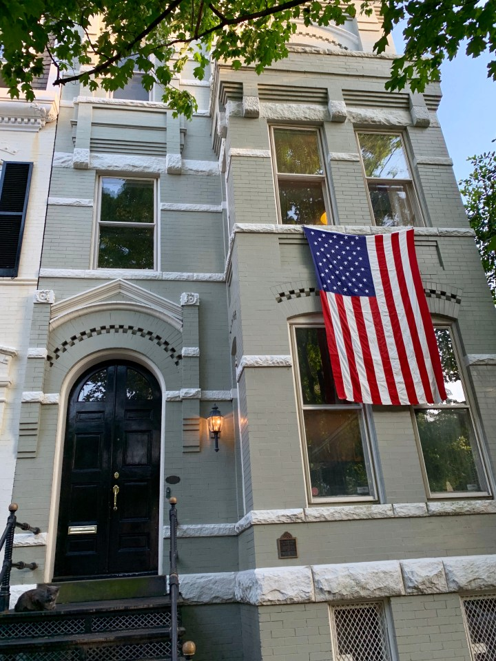 A Georgetown home with an American flag