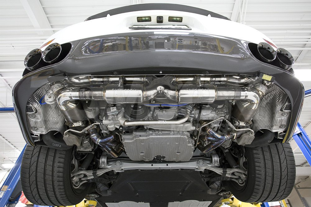 fabspeed motorsport valvetronic supersport x pipe exhaust system with performance catalityc converters and valves porsche 911 turbo turbo s 991 2