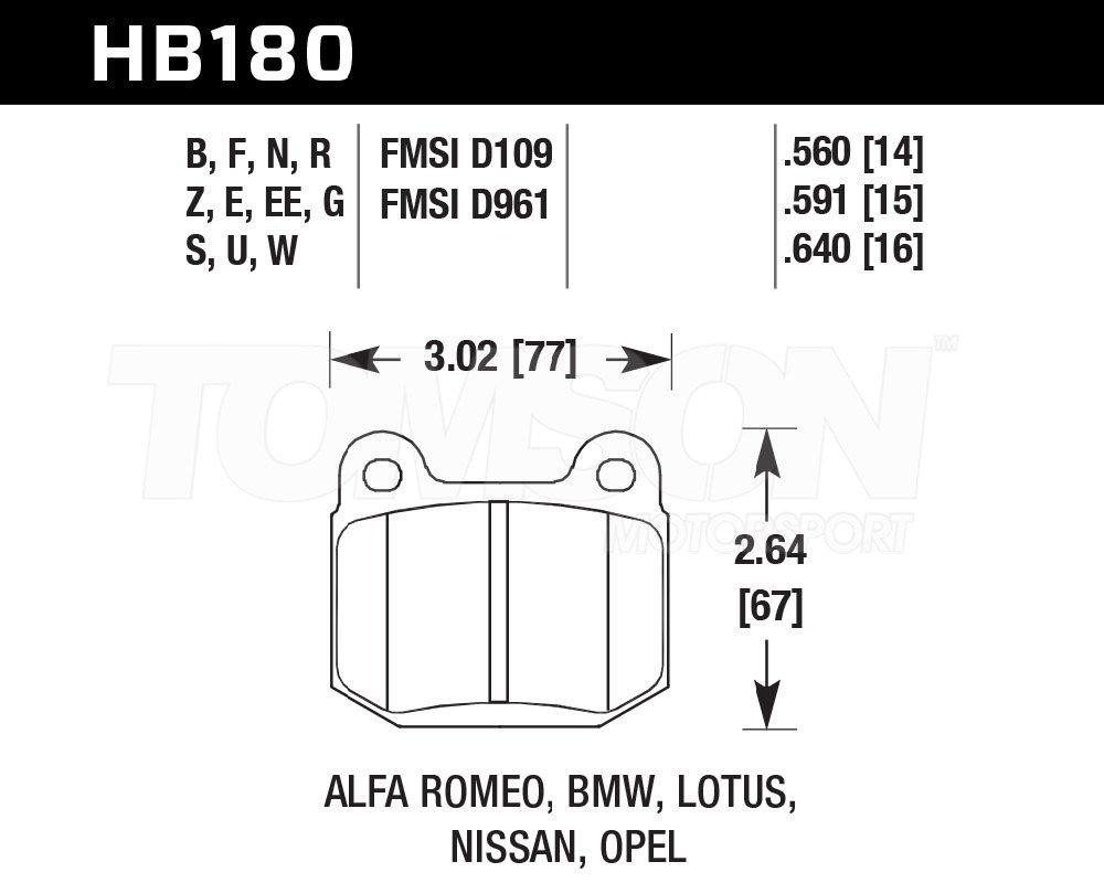Hawk Performance HB180N.560 HP Plus brake pads Subaru